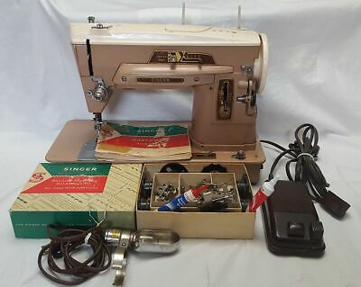 Vintage Singer Slant-o-Matic 403 Sewing Machine w/ Attachments & Guide