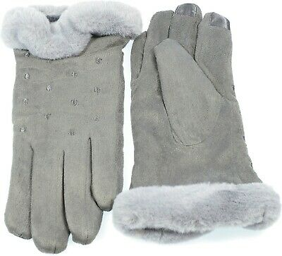 Women's Faux Suede I-Touch Gloves Warmth Faux Fur Cuff Lined Winter Gray