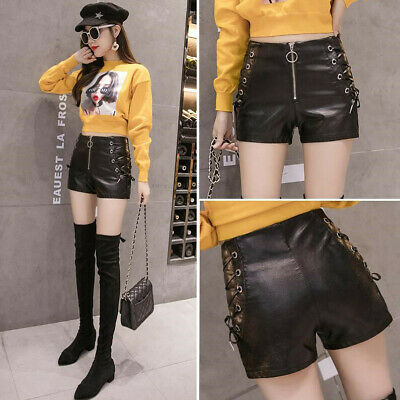 Sexy Fashion Womens Lady Zip Lace Up Casual Party Club Faux Leather Shorts Pants