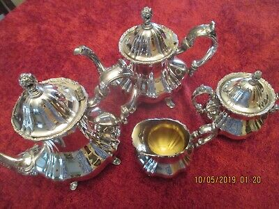 Lancaster Rose Poole Silver Co Holloware Silverplate Coffee Tea Serving Set of 4