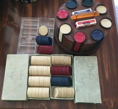 ANTIQUE POKER CHIP CADDY - Vintage Wood Round Carousel Red,White,Blue Clay Chips