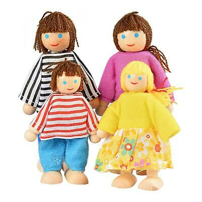 Poseable Dollhouse Dolls Wooden Doll Family Pretend Play Mini People Figures
