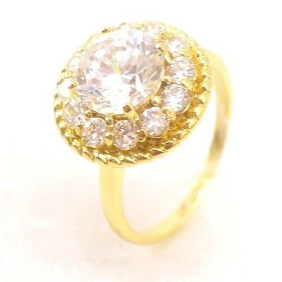 Women 14K Yellow Gold Plated Pink Clear Cubic Zirconia Ring Size L O UK