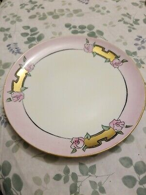 Nipon Plate - Pink - Gold Leaf - Art Deco - Vintage