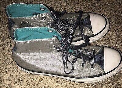Converse all star Junior Size Girls 5 Sliver Sneakers Shoes Fashion Sneakers