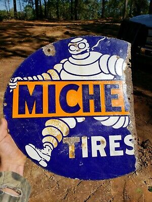 Very Rare Old Smoking Michelin Man Tires Tire Double Sided Porcelain Sign Dsp