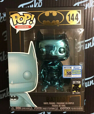 IN-HAND SDCC 2019 Funko POP! Teal Chrome Batman #144 LIMITED CON EDITION