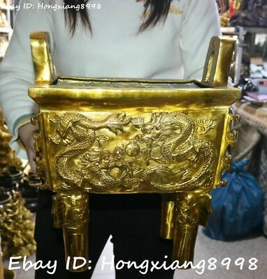 Pure Bronze Dynasty Palace Dragon Play Beast Ding Incense Burner Censer Statue