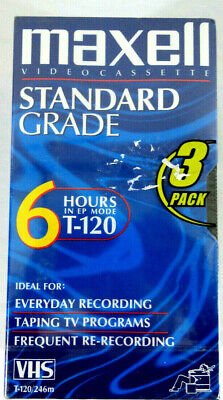Maxell T-120 6 Hour Vhs Tapes 3 Pack