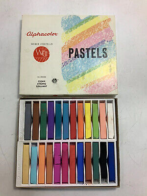 Weber Costello Alphacolor Pastels Box Of 24 Sticks Lightly Used Vintage