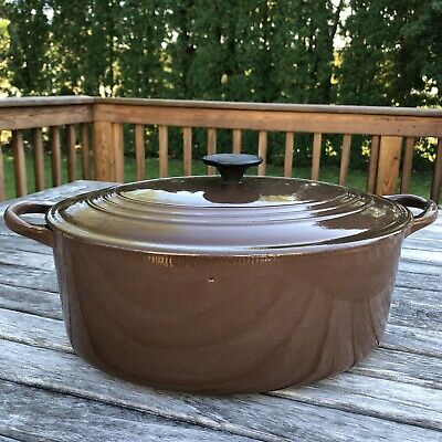 "Vintage Le Creuset France Brown 12"" Oval Cast Dutch Oven 9.5 Qt Rare"