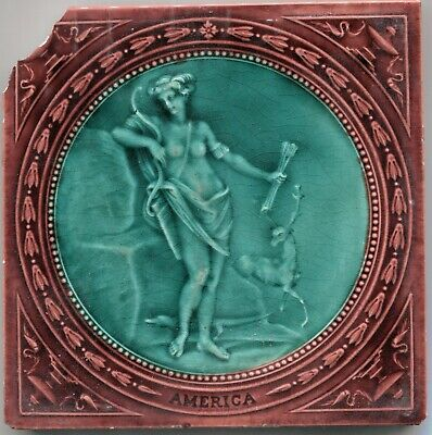 """Jewel-Like Antique Victorian Wedgwood Tile Emaux Embrants """"America"""" AS IS"""