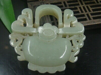 Antique Chinese Celadon Nephrite HETIAN OLD-Jade Love lock Statues/Pendant