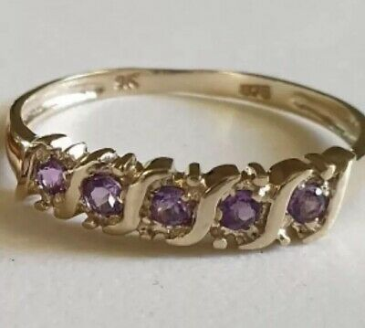 9ct real gold genuine Amethyst & ring size 7 1/2