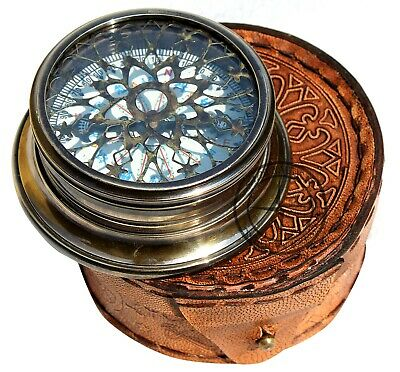 Nautical Antique Solid Brass Embossed Needle Engraved Brass Compass with Box
