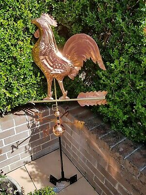 Large Weather Vane Rooster Copper & Brass with Mounting Bracket, stands 143cm
