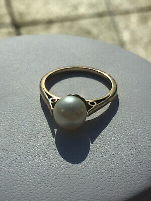 vintage 9ct yellow Gold cultured single pearl ring