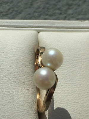 vintage 9ct yellow Gold cultured double twist pearl ring