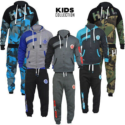 HNL Kids Girls Boys Tracksuit Set Sports Hoodie Jogging Jogger Bottom & Top Set