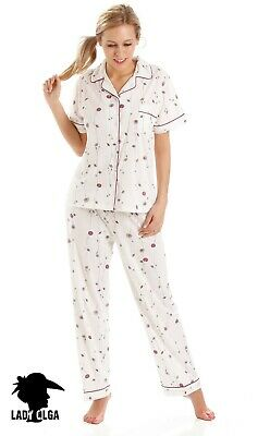 Ladies Short Sleeve Poly Cotton Button Front pyjamas pjs UK 10 - 24 Poppy Floral