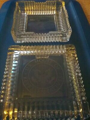 U.S. HOUSE OF REPRESENTATIVES Square Glass Desk Trinket Box With Etched Seal