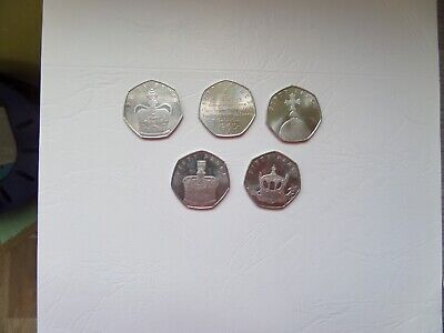 Isle of Man IOM Queens Sapphire Anniversary 50p coin Set of 5. Circulated