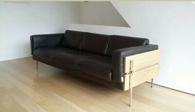 Robin Day Forum Sofa 3 Seat Brown Leather Oak Vintage Mid Century Modern Habitat
