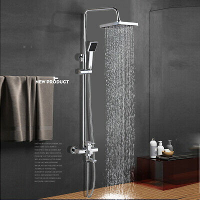 Wall Mounted Chrome Shower Faucet Set 8 inch Rainfall Hand Shower Tub Filler Tap
