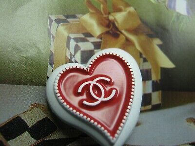 CHANEL 1 AUTHENTIC white  red  Heart shape BUTTON  STAMPED
