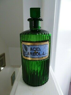 Antique chemist green glass ribbed jar bottle Acid Carbol:l: pharmacy apothecary
