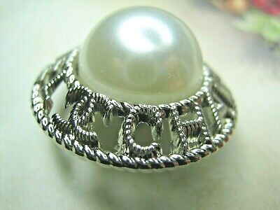 CHANEL  1 CC  PEARL CENTER,  silver 24mm BUTTON THIS IS FOR ONE stamped