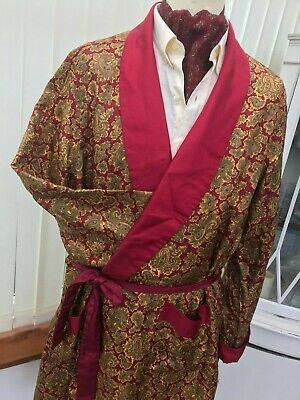 VINTAGE RED GOLD PAISLEY ROBE SMOKING JACKET GOWN dandy retro MEN'S  xl 44c