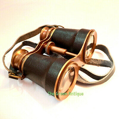 Antique Brass Binocular Nautical Maritime Black Leather Grip Collectible