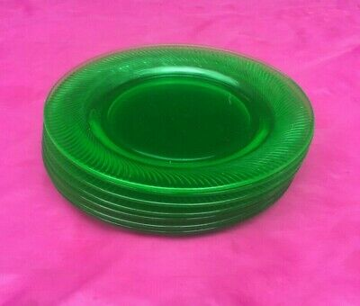 Set Of 7 vintage green depression glass dinner plates 8 inches