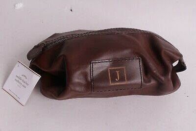 NWT Pottery Barn Saddle leather toiletry case bag travel chocolate J