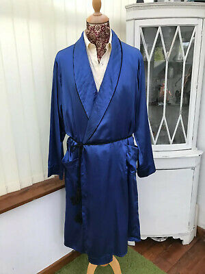 VINTAGE BLUE SATIN ROBE SMOKING JACKET GOWN dandy retro MEN'S  xl 44/46c