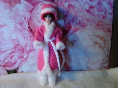 VINTAGE Topper Dawn Doll custom outfit ,,coat, hat, boots, PINK with FUR so cute