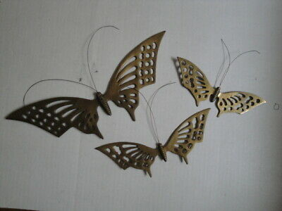 Set Lot of 3 Cast Brass Vtg Metal Small Butterfly Plaques Home Décor  Wall Hang