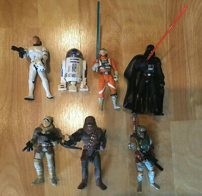 Lot Of 7 Loose Star Wars Power Of The Force Figures Luke Skywalker Darth Vader +