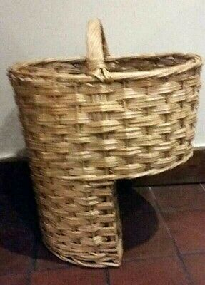 Brown wicker stair basket step level bottom new with handle