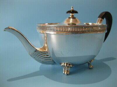 Very Nice Quality Large Round Antique Silver Plated Georgian Footed Teapot