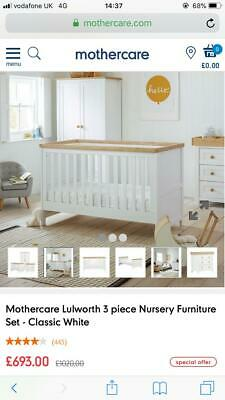 Mothercare 3 Piece Lulworth Nursery Set For 220 00