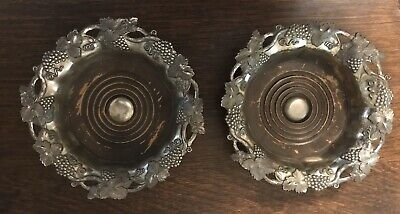 Antique Pair English Hand Chased Hallmarked Silverplate Wine Bottle Coasters Exc