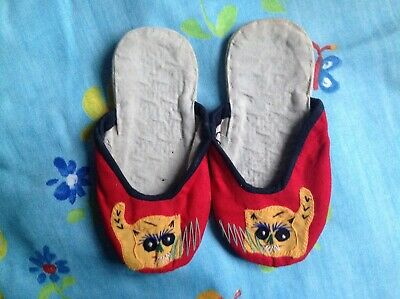 Vintage Chinese slippers children's brightly coloured cotton ethnic cat motif