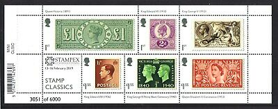 STAMPEX Overprint 2019 Classic Stamps Miniature Sheet Limited Edition of 6000.