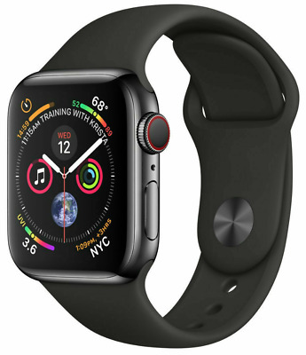 Apple Watch Series 4, 44 mm, Space Gray, Black Sport Band, FREE US Shipping