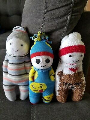 Handmade dolls 3 pack assorted different colors and texture 7 inches
