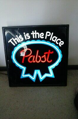 "VINTAGE PABST BLUE RIBBON ""This is the place"" BEER SIGN LIGHTED 17"""
