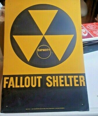 Vintage 1960's Original FALLOUT SHELTER Reflector Sign 20x14