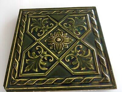 Antique Tile Aesthetic English Craven Dunnill Jackfield  Arts & Crafts
